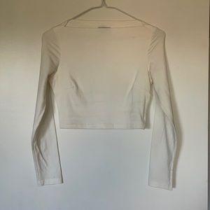 3/$30 Tobi boat neck white long sleeve crop top XS